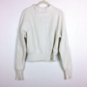 Free People Ribbed Ivory Mock Neck Sweater